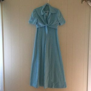 Vintage blue checkered gingham dress w/ shrug